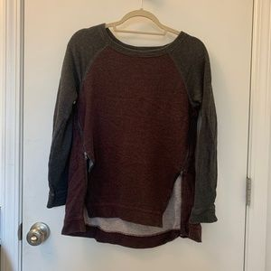 Lou & Grey Burgundy/Gray Sweater with Zippers